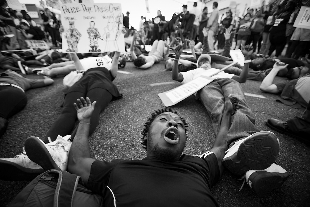 Protesters on the streets of Los Angeles demonstrating against the decision in Ferguson, Missouri to not indict police officer in the shooting death of unarmed, black teenager Mike Brown. Photographed for Aurora Photos.