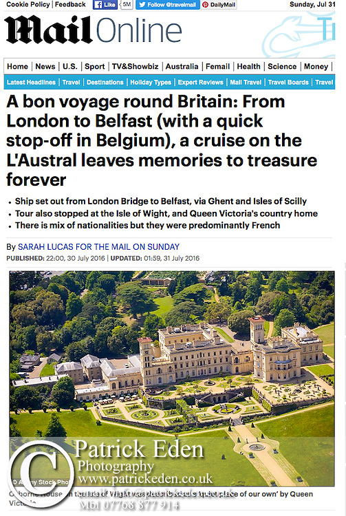 Aerial, Osborne House, Queen Victoria, East Cowes, Isle of Wight, UK, The Daily Mail, Mailonline,