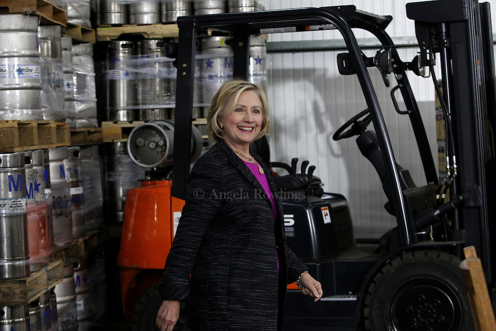 (Hampton, NH - 5/22/15) Former Secretary of State and presidential candidate Hillary Clinton arrives for a roundtable discussion with small business owners at  Smuttynose Brewery, Friday, May 22, 2015. Staff photo by Angela Rowlings.
