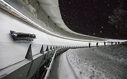 20.02.2016, Olympiaeisbahn Igls, Innsbruck, AUT, FIBT WM, Bob und Skeleton, Herren, Viererbob, 2. Lauf, im Bild Vuk Radenovic, Stefan Vujanic, Aleksandar Krajisnik, Damjan Zlatnar (SRB) // Vuk Radenovic Stefan Vujanic Aleksandar Krajisnik Damjan Zlatnar of Serbia competes during Four-Man Bobsleigh 2nd run of FIBT Bobsleigh and Skeleton World Championships at the Olympiaeisbahn Igls in Innsbruck, Austria on 2016/02/20. EXPA Pictures © 2016, PhotoCredit: EXPA/ Johann Groder
