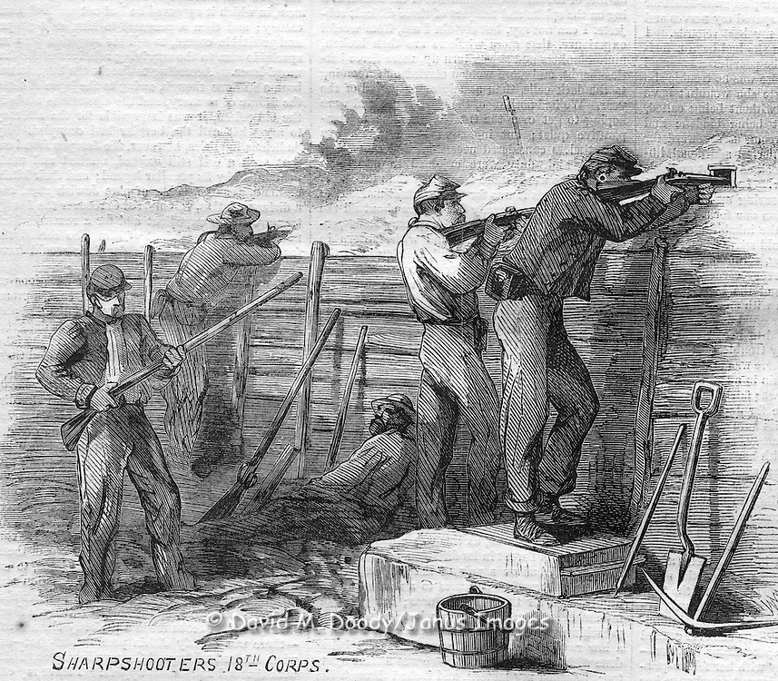 American Civil War: General Grant's Campaign - In the Trenches Before Petersburg - Sketched by A. R. Waud...IN THE TRENCHES...WE continue this week, on pages 504 and 505, our. ILLUSTRATIONS OF THE SIEGE OF PETERSBURG, of which the artist gives a description as follows :..The army, although no longer marching and fighting day by day, is by no means idle; earth works, of much heavier construction than the temporary rifle-pits thrown up on the march from Culpepper, keep the spade and pick in constant requisition. The enemy's position, in most instances, commands ours, giving them the advantage in the constantly renewed artillery firing along the front, and superior protection for their men from the fire of sharp-shooters...Take the sketch of MARTIN'S BATTERY ; frowning over it, at close range, are the enemy's fortifications, an important salient being prominent, back of which may be seen part of still another line of works, designed to make the first untenable if, in spite of abattis and chevaux de frise, we should capture them. At this part of the lines?on the Fifth Corps?although the cannon keep up a desultory fire, by common   consent among the men on both sides sharp-shooting has been abandoned, and the pickets live amicably near each other, outside the fortified lines; ours even taking their shelter-tents with them for protection against the sun. The line of battle lies close on both sides, in the complicated system of trenches called rifle-pits, which generally consist of two main lines of embankment close together?one in front, the other behind the men--and any quantity of traverses, as shelters against cross-fire are called. Across these works the men stretch their tents and blankets, like an awning, in picturesque confusion, keeping as cool as the torrid climate?aggravated in the pits by the glare from the white sandy soil?and the rebel mortar shells will let them. Against the latter rifle-pits are no protection, and the soldiers burrow into the earth places
