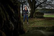 Nederland, Bronneger 20141013. Ellen Nooren, uitvaartondernemer, bij hunnebed D21. foto: Pepijn van den Broeke