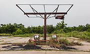 Gas station wrecked by Hurricane Katrina and abandoned; Hwy. 46, Florissant Hwy near Shell Beach, Louisiana
