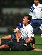06.09.1995, Hampden Park, Glasgow..UEFA European Championship qualifying match, Scotland v Finland.John Spencer (Scotland) v Erik Holmgren (Finland).©Juha Tamminen