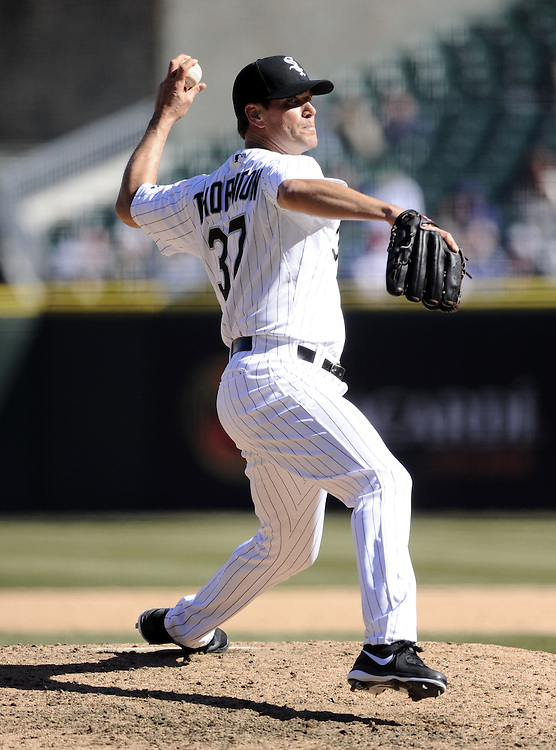 CHICAGO - APRIL 03:  Matt Thornton #37 the Chicago White Sox pitches against the Kansas City Royals on April 3, 2013 at U.S. Cellular Field in Chicago, Illinois.  The White Sox defeated the Royals 5-2.  Ramirez was charged with an error on the play.(Photo by Ron Vesely)   Subject: Matt Thornton