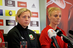 NEWPORT, WALES - Thursday, August 30, 2018: Wales' manager Jayne Ludlow and captain Sophie Ingle during a press conference at Rodney Parade ahead of the final FIFA Women's World Cup 2019 Qualifying Round Group 1 match against England. (Pic by David Rawcliffe/Propaganda)