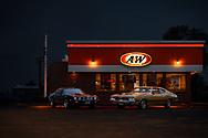 BOLO Photo<br /> Wild West Automotive Photography<br /> Neon Night<br /> May 16, 2019: Eaton, Colorado<br /> (1979 Pontiac Trans Am: Heather Wendelboe)<br /> (1970 Oldsmobile 4-4-2: Curt Wendelboe)