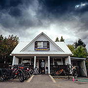 Rex Flake enters the Das Rad Haus bike shop in Leavenworth, Washington.