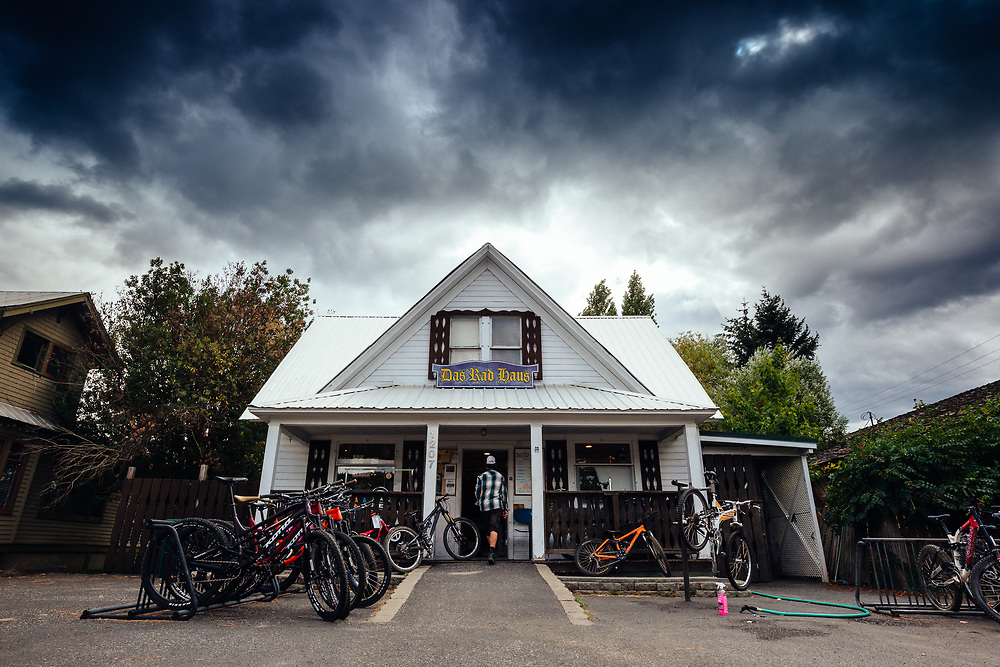Rex Flake enters the Das Rad Haus bike shop in Leavenworth, Washington.