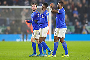 Leicester City defender Ben Chilwell (3) and Leicester City forward Kelechi Iheanacho (14) celebrates at full time during the Premier League match between Leicester City and West Ham United at the King Power Stadium, Leicester, England on 22 January 2020.