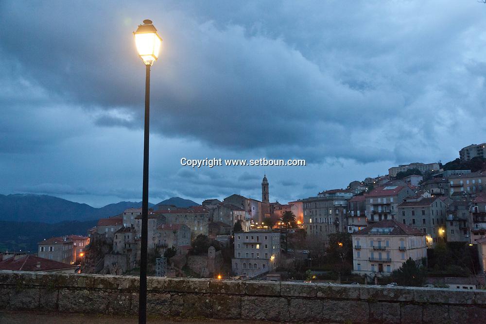Corsica. France. Sartene, perched village on a montain , general view at night,  .  France / Sartene , village perché sur la montagne vue generale  Corse du sud .  France
