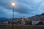 Corsica. France. Sartene, perched village on a montain , general view at night,  .  France / Sartene , village perché sur la montagne vue generale  Corse du sud .  France