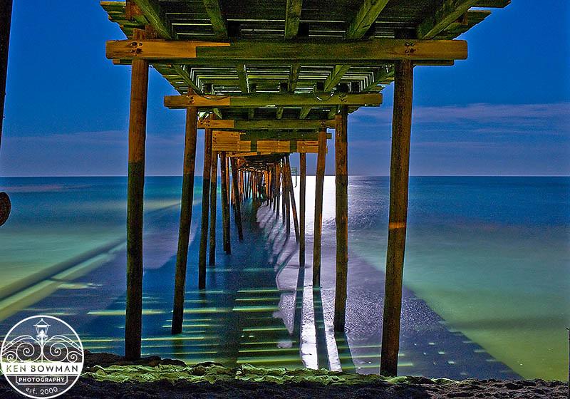 Carolina full moon evening pier photograph.