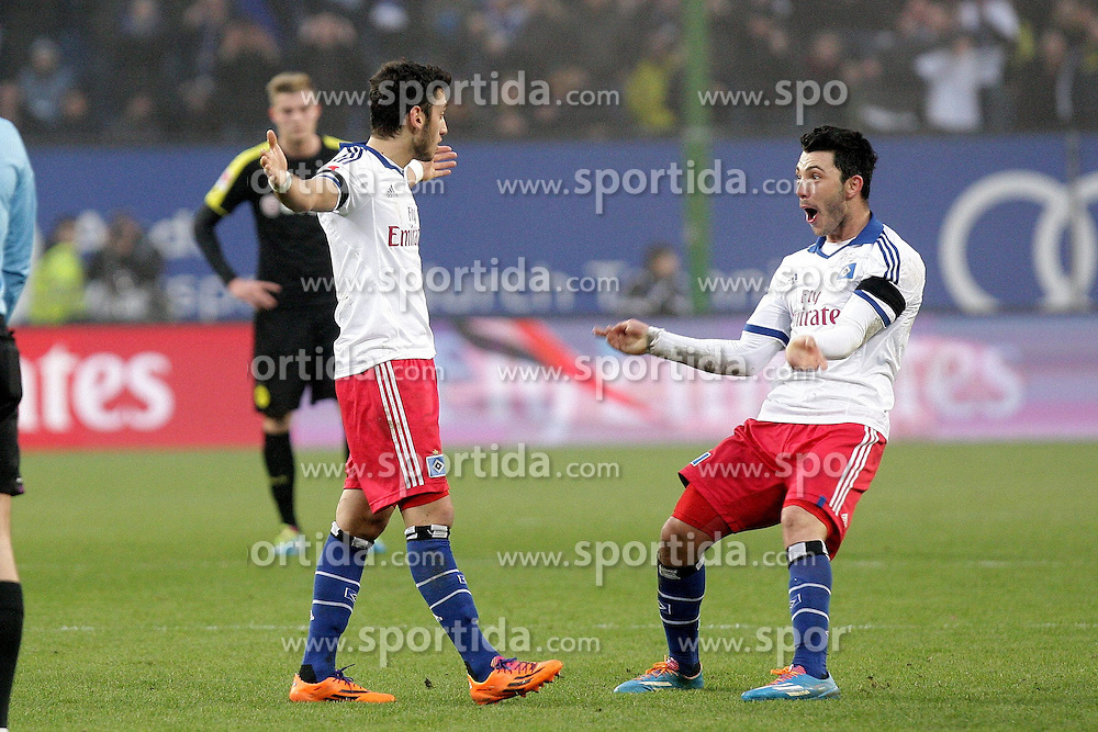 22.02.2014, Imtech Arena, Hamburg, GER, 1. FBL, Hamburger SV vs Borussia Dortmund, 22. Runde, im Bild Hakan Calhanoglu, Tolgay Arslan (HSV) bejubeln das 3:0 // during the German Bundesliga 22th round match between Hamburger SV and Borussia Dortmund at the Imtech Arena in Hamburg, Germany on 2014/02/23. EXPA Pictures &copy; 2014, PhotoCredit: EXPA/ Eibner-Pressefoto/ Latendorf<br /> <br /> *****ATTENTION - OUT of GER*****
