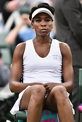 © Licensed to London News Pictures. 03/07/2017. London, UK. Photo credit: VENUS WILLIAMS plays a first round women's singles match against Elise Mertens on the first day of the Wimbledon Lawn Tennis Championship.Photo credit: Ray Tang/LNP