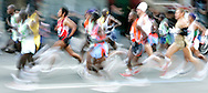 The lead pack of runners in the 2006 New York City Marathon in first place on Sunday 05 November 2006<br />