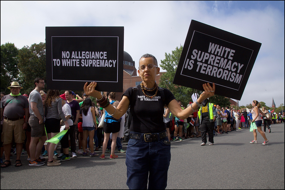 """As many as 40,000 counterprotesters massed and marched against a right-wing """"free speech"""" rally in Boston one week after a white-supremacist rally in Charlottesville led to violence that killed one counterprotester and injured dozens more. August 19, 2017"""