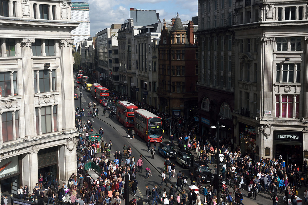 London's Oxford Street, known as one of the world's most famous shopping attraction, April 25, 2015. Photo by Gili Yaari