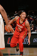 February 13, 2014: Alyssa Thomas #25 of Maryland in action during the NCAA basketball game between the Miami Hurricanes and the Maryland Terrapins at the Bank United Center in Coral Gables, FL. The Terrapins defeated the Hurricanes 67-52.