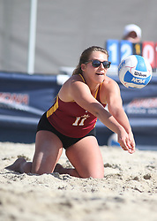 April 7, 2018 - Tucson, AZ, U.S. - TUCSON, AZ - APRIL 07: Colorado Mesa Mavericks Hana Peterman (11) hits the ball during a college beach volleyball match between the Colorado Mesa Mavericks and the Arizona Wildcats on April 07, 2018, at Bear Down Beach in Tucson, AZ. Arizona defeated Colorado Mesa 4-1. (Photo by Jacob Snow/Icon Sportswire (Credit Image: © Jacob Snow/Icon SMI via ZUMA Press)