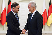 Feb. 17, 2016 - Warsaw, Poland - <br /> <br /> Polish President Andrzej Duda (L) welcomes President of the German Bundesrat Stanislaw Tillich (R) in Presidential Palace on 17 February 2016 in Warsaw, Poland.<br /> ©Exclusivepix Media