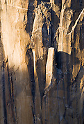 Evening light on climbers on the Salathe route on El Capitan, Yosemite National Park, California