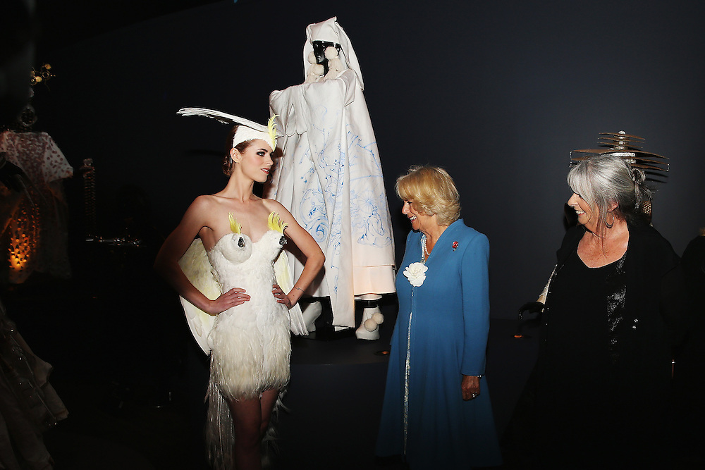 Camilla, Duchess of Cornwall is shown models from the World of Wearable Arts Museum in Nelson New Zealand, Saturday, November 07, 2015. Credit:SNPA / Getty, Hannah Peters **POOL**