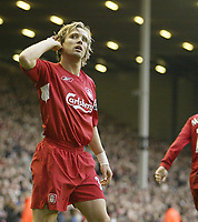 Photo: Aidan Ellis.<br /> Liverpool v West Ham Utd. The Barclays Premiership.<br /> 29/10/2005.<br /> Liverpool's Boudejwin Zenden celebrates his goal and teams second