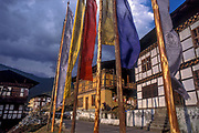 Prayer flags protect homes outside the town of Punakha.