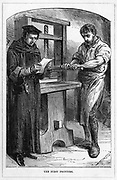 William Caxton (c1422-1491) the first man to print and publish books in England (1476). Caxton reading proofs fresh off the press. From 'Great Inventors', London c1882.