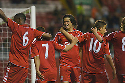LIVERPOOL, ENGLAND - Wednesday, May 7, 2008: Liverpool's Jordy Brouwer celebrates scoring the second goal against Aston Villa with team-mates during the play-off final of the FA Premier League Reserve League at Anfield. (Photo by David Tickle/Propaganda)