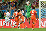 Jasper Cillessen of Netherlands takes a high ball during the 2014 FIFA World Cup match at the Itaipava Arena Fonte Nova, Nazare, Bahia<br /> Picture by Stefano Gnech/Focus Images Ltd +39 333 1641678<br /> 05/07/2014