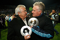 FOOTBALL - FRENCH CHAMPIONSHIP 2009/2010 - L1 - OLYMPIQUE MARSEILLE v GRENOBLE FOOT 38 - 15/05/2010 - PHOTO PHILIPPE LAURENSON / DPPI - DIDIER DESCHAMPS AND JEAN-CLAUDE DASSIER