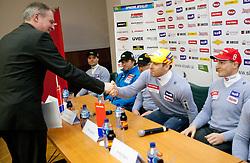 Aleksander Svetelsek of Petrol, Mitja Valencic and Andrej Sporn at press conference of Men Alpine Ski team and sponsor Petrol, on December 8, 2010 in Petrol, Ljubljana, Slovenia. (Photo By Vid Ponikvar / Sportida.com)