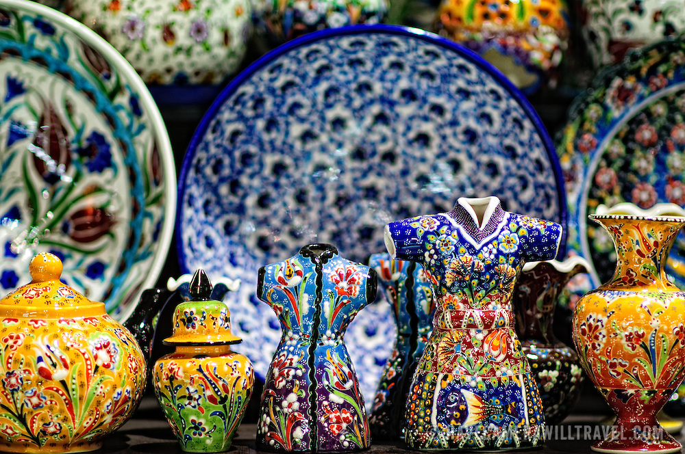 Ornately painted ceramics for sale in inside Istanbul's historic Grand Bazaar
