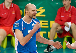 Semen Poltavskiy of Dinamo celebrates at 1st Semifinal match of CEV Indesit Champions League FINAL FOUR tournament between PGE Skra Belchatow, Poland and Dinamo Moscow, Russia, on May 1, 2010, at Arena Atlas, Lodz, Poland. (Photo by Vid Ponikvar / Sportida)