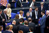 Bundeskanzlerin Angela Merkel (CDU) nimmt Glückwünsche von Martin Schulz entgegen nach ihrer Wiederwahl zur Bundsekanzlerin  im Bundestag in Berlin. / 14032018,DEU,Deutschland,Berlin