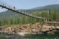 Kootenai Falls Swinging Bridge, spans the Kootenai River at Kootenai Falls in northwestern Montana.