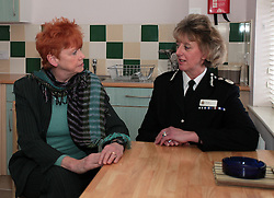 "Licensed to London News Pictures. 05/12/2012.Wearside, UK, In her first publicised engagement since being elected, former Solicitor General and MP for Redcar, Northumbria Police & Crime Commissioner Vera Baird and Northumbria Police Chief Constable Sue Sim launch a new campaign entitled ""Are you walking on eggshells"" to raise awareness of domestic violence in the Northumbria Police force area. The launch took place at a women's refuge on Wearside. *** Please note: the exact location of the refuge is being kept confidential *** Photo credit: Adrian Don/LNP"