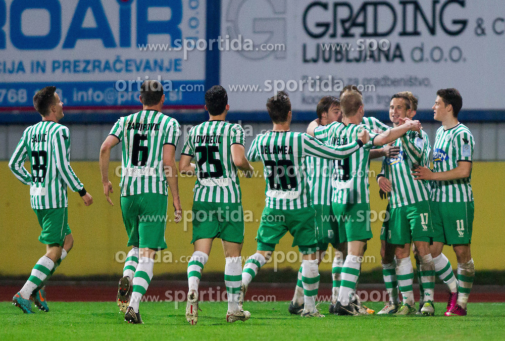Players of Olimpija celebrate during football match between NK Domzale and NK Olimpija Ljubljana in 28th Round of Prva liga Telekom Slovenije 2012/13 on April 13, 2013 in Sports park Domzale, Slovenia. Olimpija defeated Domzale 4-0.(Photo By Vid Ponikvar / Sportida)