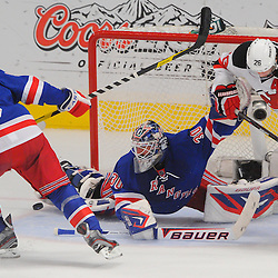May 16, 2012: New York Rangers goalie Henrik Lundqvist (30) spreads to makes a save on a deflection with New Jersey Devils center Patrik Elias (26) in close during first period action in game 2 of the NHL Eastern Conference Finals between the New Jersey Devils and New York Rangers at Madison Square Garden in New York, N.Y.