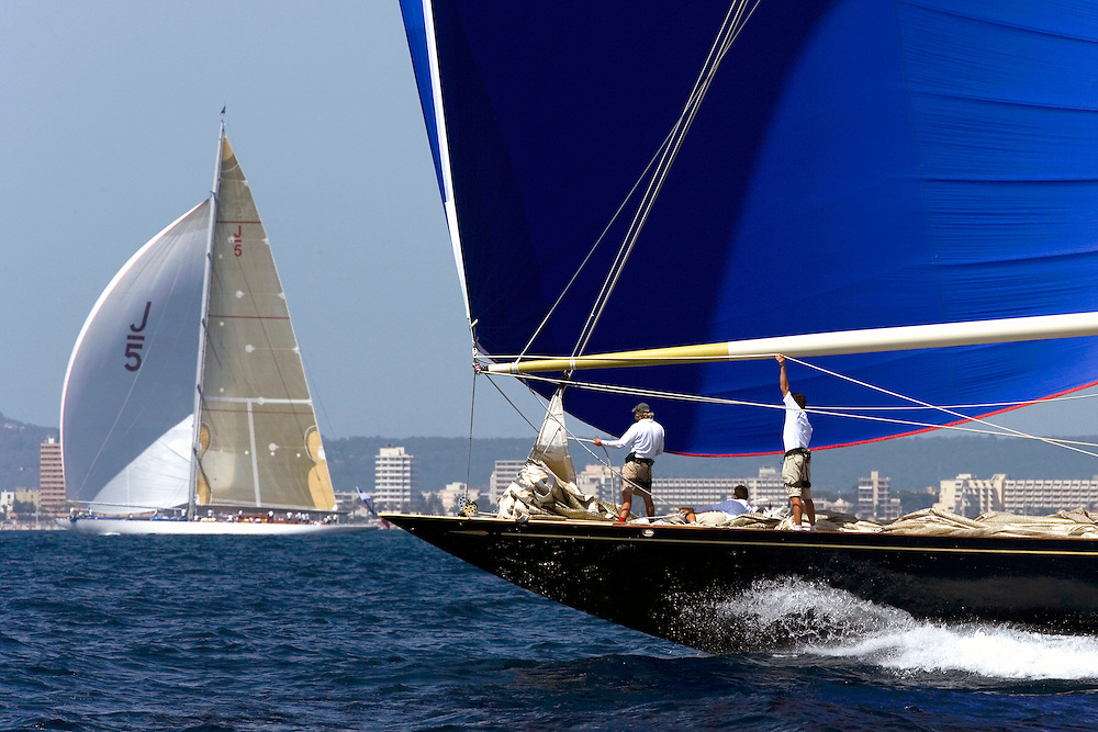 """Valencia/Spain/THE SUPERYACHT CUP PALMA 2007/17JUN07. """"Velsheda"""" and """"Ranger"""" the two """"J"""" Class yachts in the regatta, make their way to the finish line of Race 1 under spinnaker"""