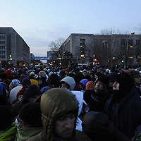 A large crowd gathers to gain entrance through one of the checkpoints at 7:20 AM for the swearing in of Barack Obama as the 44th President of the United States of America during his Inauguration Ceremony on Capitol Hill in Washington on January 20, 2009.    (Mark Goldman/ Goldmine Photos)