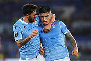 Joaquin Correa of Lazio celebrates with Danilo Cataldi after scoring 1-0 goal during the UEFA Europa League, Group E football match between SS Lazio and CFR Cluj on November 28, 2019 at Stadio Olimpico in Rome, Italy - Photo Federico Proietti / ProSportsImages / DPPI