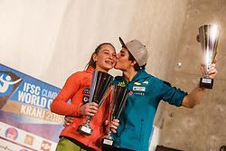 Janja Garnbret (SLO) with Domen Skofic (SLO) during ceremony of IFSC Climbing World Cup Kranj 2016, on November 27, 2016 in Arena Zlato Polje, Kranj, Slovenia. (Photo By Grega Valancic / Sportida.com)