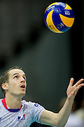 Benjamin Toniutti from France in action during the 2013 CEV VELUX Volleyball European Championship match between Poland and France at Ergo Arena in Gdansk on September 21, 2013.<br /> <br /> Poland, Gdansk, September 21, 2013<br /> <br /> Picture also available in RAW (NEF) or TIFF format on special request.<br /> <br /> For editorial use only. Any commercial or promotional use requires permission.<br /> <br /> Mandatory credit:<br /> Photo by &copy; Adam Nurkiewicz / Mediasport