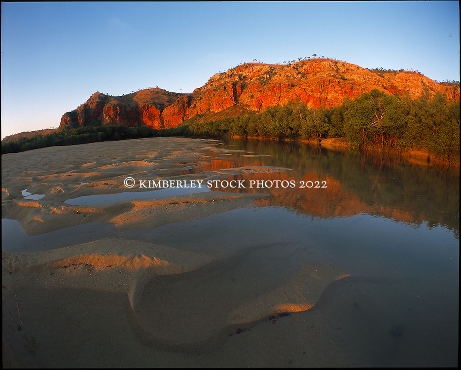 Late afternoon reflections in a sandbank on Turtle Reef in Talbot Bay on the Kimberley coast.