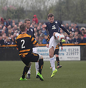 Dundee's Willie Dyer clears from Alloa Athletic's James Michael Doyle - Alloa Athletic v Dundee, SPFL Championship at Recreation Park, Alloa<br /> <br />  - &copy; David Young - www.davidyoungphoto.co.uk - email: davidyoungphoto@gmail.com