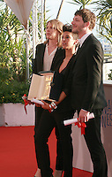 Claire Burger, Marie Amachoukeli and Samuel Theis winner of Caméra d'or for the film Party Girl at the Palme d'Or winners photo call at the 67th Cannes Film Festival, Saturday 24th May 2014, Cannes, France.