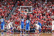 LOUISVILLE, KY - DECEMBER 29: Louisville Cardinals fans try to distract a free throw against the Kentucky Wildcats at the KFC Yum! Center in Louisville, Kentucky. Louisville won 80-77. (Photo by Joe Robbins)